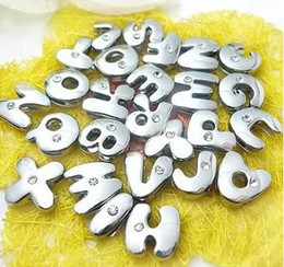8mm 1300pcs lot A-Z One rhinestone Slide letters fit for 8mm diy leather wristband bracelet jewelrys