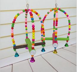 Vente en gros d'oiseaux colorés fournitures jouets échelle pivotante échelle d'oiseau rongeur jouet perroquet croix exquise swing station debout barre échelle shi gratuit à partir de barres autoportantes fournisseurs