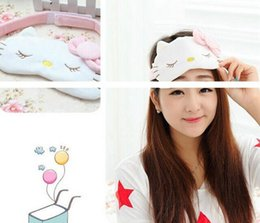 Masque de chat en Ligne-Vente en gros- Super Sweet Pink Hello Kitty Eyepatch Cover Party Mask 20CM Masque de sommeil flexible Sleeping Eyeshade Clignotants Sleep Blindfold