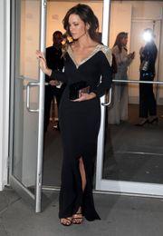 Wholesale kate beckinsale international gala dinner party gowns v neck sequins long sleeves side split formal dresses evening wear