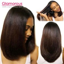 Glamour 8A perruque de cheveux bruns brésiliens 8-14 pouces peruvian indienne malaisienne 100% cheveux humains perruques de dentelle pleine bob pour les femmes noires à partir de femmes droites perruques de cheveux humains fournisseurs