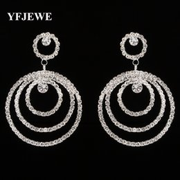 YFJEWE Top Selling Women Drop Earrings Elegant Three-circle Stacked Women Crystal Jewelry Fashion Dangle Earrings Femme E300
