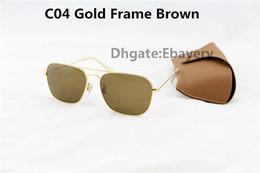 Les brunes à vendre-50pcs Par les lunettes de soleil de mode de DHL Rectangle pour les hommes Lunettes de soleil UV400 des femmes Lunettes de soleil de métal d'or Brown 58mm avec les boîtes brunes Boîte 9 Couleur