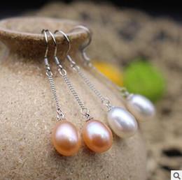 925 sterling silver pearl earrings female rice-shaped long earrings fringed South Korea silver earrings hot