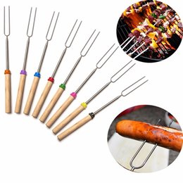 Wholesale Hot mm cm Stainless Steel Skewers Telescopic Fork For BBQ Outdoor BBQ Spits Barbecue Skewer fork wooden handle