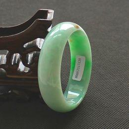 China traditional Natural Myanmar Jadeite Bracelet Jade Bangle dilated Ice waxy kind Light Green
