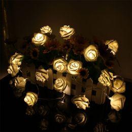 Descuento luces de hadas blancas con pilas Venta al por mayor-2017 caliente 20 LED Rose flor cálida hada blanca cadena luz Navidad fiesta batería operado a pilas luz decoración de la cadena