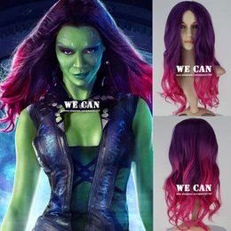 100% Brand New High Quality Fashion Picture full lace wigs>New Guardians of the Galaxy Gamora Wig Synthetic Long Wavy Gradient Cosplay Wig