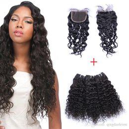"8A Cheap Brazilian Hair Lace Closure 4x4"" Middle Free Three Part Peruvian Natural wave Hair with 3pcs 300g Virgin Human Hair Bundles"
