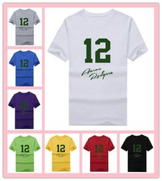 Wholesale Customize New Cotton green bay Aaron Rodgers signed T shirt funny packers T Shirt