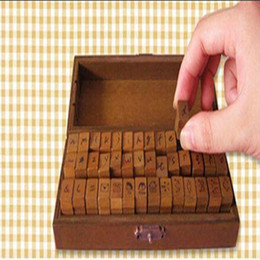 Wholesale pc box Wooden Block Creative Letters Antique Alphabet Stamps Seal Handwriting Diary Carved Gift Set Toy Standard Stamp