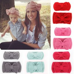 Hot Sale baby and mom winter knitted headband baby girls kids newborn hair head band wrap turban headwear hair accessories Bohemia Bow Knot