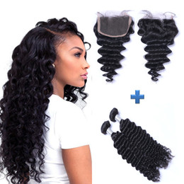 Resika 7A Unprocessed Brazilain Virgin Hair Bundles 2pcs lot With 4x4 Lace Closure Natural Color Cheap Hair Weave Deep Wave Extensions