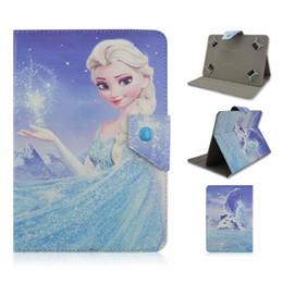 Caja de la galaxia de la zarzamora china en venta-Universal ajustable de dibujos animados congelado Elsa Anna Flip PU cuero Stand caso de 7 pulgadas Tablet PC