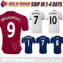 Top Quality IBRAHIMOVIC Soccer Jersey 16-17 New red Shirt Tops ROONEY Football Jerseys WEAR 6 POGBA 7 MEMPHIS 1 MOURINHO Soccer shirts