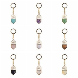 Wholesale Natural Semi Precious stone Gemstone Chakra Healing Shield Pendant Keychain Women Men Key rings