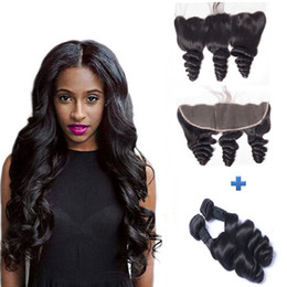 Top Grade Full Frontals Lace Closure With Bundles Cheap Loose Wave Curly Malaysian Human Hair Weaves With 13x4 Lace Frontal Closures Piece
