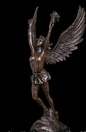 Wholesale shitou Abstract Art Sculpture Bronze Copper Marble Base Victory Angel Statue Figurine