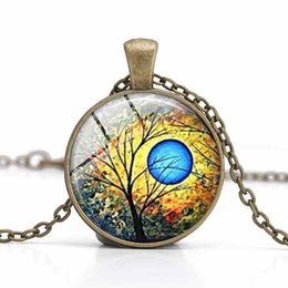 Tree of Life Pendant Necklaces Glass Cabochon Time Gemstone Alloy Jewelry Women Charm Clothes Accessory Girl Gifts Wholesale Necklaces