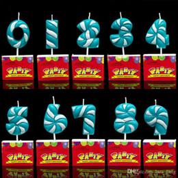 Velas de cumpleaños barcos en Línea-2017 Rosa azul de la oferta especial envío libre Cumpleaños Hi-q del número de llegada para la decoración de la torta Niños Fiesta Suministros Velas