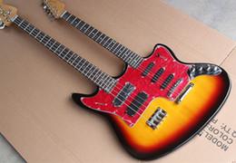 Acheter en ligne Guitare double goulots-Vente en gros-Jaguar style guitare double cou électrique et basse, 6 cordes guitare et 4 cordes basse, double sortie Jack, offre personnalisée