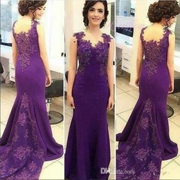 2019 Purple Elegant Mermaid Evening Dresses Lace Appliques Beaded Sexy Back Vestios De Fiesta Prom Party Gowns