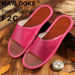 2017 summer fashion Women slip slippers comfortable slippers Genuine Cow Leather Slipper Flat Slippers free Shipping