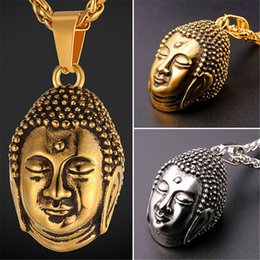 U7 New Blessed Tathagata Buddha Pendant Necklace Stainless Steel Gold Plated Charm Men Women Religious Buddhist Jewelry Accessories GP2478