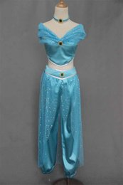 Wholesale New amp Elegant Aladdin Jasmine Princess Adult Kids Belly Dancer Cosplay Costume