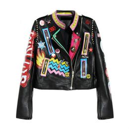 Desconto revestimento da motocicleta longas de couro Plus Size Moda Outono Mulheres Punk Heavy Metal Rua Short jaqueta de couro Black Zipper Rivet manga comprida Casaco de Moto
