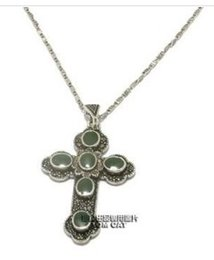 old silver inlay deep green cross pendant l lady;s necklace (xysppfh)