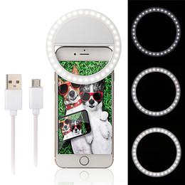 Anillo de luz led de la cámara en Línea-Recargable Selfie LED anillo de flash de luz de relleno flash de la fotografía de la cámara para IPhone teléfono móvil 3 modo de iluminación