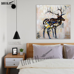 100% Hand Paint Sika deer Oil Painting Modern Animal Square Wall Art Acrylic Oil Canvas Living Room Decoration