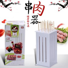 Wholesale Brochette Express Kebab kabob Maker Box Holes BBQ Kabob Maker Meat Skewer Machine Beef Meat Maker Barbecue Tool BBQ