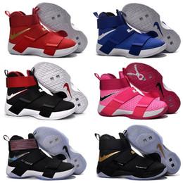 2017 New LeBron Soldier 10 Chaussures de basket-ball pour homme Zoom Air Air LB James 10s Black White Red Limited Edition Sports Sneakers à partir de soldats lebron noir fournisseurs