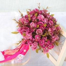 Wholesale 2017 Cheap Wedding Bouquet Bouquet De Mariage Handmade Flower Purple Pink Gerber New Arrival Artifical Bridal Boquet Bridesmaid Bouquet