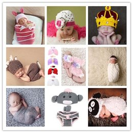 Wholesale Baby Infants Outfits Crochet Knit Animal Bunny Sun Flower Baby Kids Photography Props Costumes Cartoon Caps Hats Set B3980