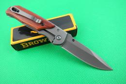New Free Hongkongpost Browning 332 Folding blade knife wood handle outdoor gear hunting pocket camping hiking knife knives tools New in