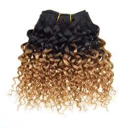 Wholesale Honey Blond Brazilian Virgin Hair Kinky Curly Weave Two Tone Ombre Brazilian Hair T1b Bundles Curly Human Hair Products