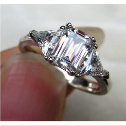 Wholesale High Quality CRT Three Stone Emerald Cut Love Diamond Engagement Ring Genuine Sterling silver Stone Ring