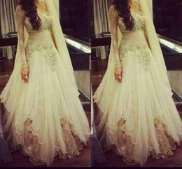 Wholesale Arab scoop long sleeve tulle A line ivory appliques lace beautiful evening dresses guest evening wear prom dress gowns formal cocktail party