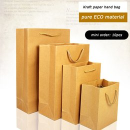 10pcs nice quality kraft paper hand bag pure ECO material for packing of clothes shoes cosmetics (9 size for your choice) free shipping