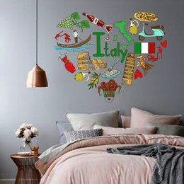 Wholesale I Love Italy Illustration Fashion Wedding Decor Vinyl Waterproof Wall Sticker Bedroom Wallpaper Wall Decal Baby Rooms Decor