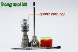 Wholesale Bong Tool Set With Quartz Nail Carb Cap mm mm mm Domeless Gr2 Titanium Nail Carb Cap Dabber Slicone Jar For Glass Bongs