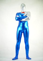 White & Blue Metallic Superhero Cola Warrior Halloween Cosplay Party Zentai Suit