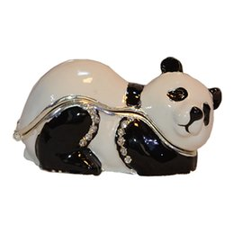 panda jewelry trinket box metal collectibles Russian sourvenirs