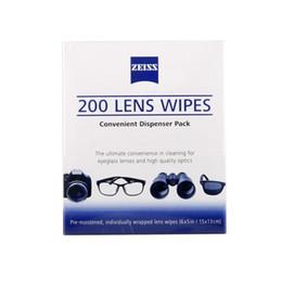 La limpieza de lentes de gafas en Línea-Venta al por mayor- ZEISS Lentes de limpieza paños de limpieza 200 pcs Pre-húmedo portátil LCD lentes de la lente de la cámara óptica de filtro Espectáculo limpiador toallitas de limpieza