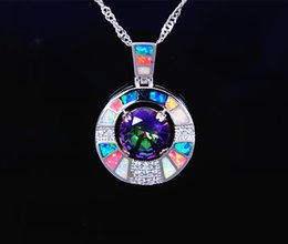 Wholesale & Retail Fashion Jewelry Fine Multi Fire Opal Stone Sterling Sliver Pendants and Necklace For Women PJ17082711