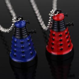 Descuento película al rojo vivo Doctor al por mayor-Hot del doctor de la película que Dalek collar de la manera de la vendimia de la robusteza retra azul retra del villano joyería pendiente para el envío de la gota de las mujeres de los hombres