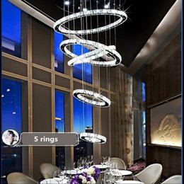 Wholesale New Luxury Design circular staircase lamp lights circle ring room floor led Ceiling Lights villa creative long